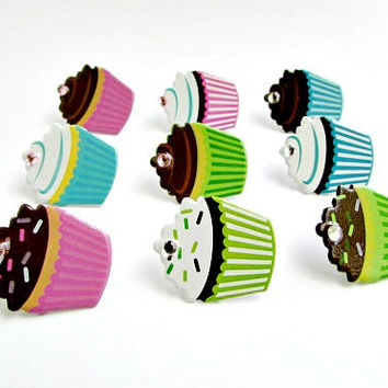 Cupcake Push Pins, Cupcakes, Cupcake Decor, Cupcake Items, Tacks, Cupcake Tacks, Bakery Decor, Bakery Items