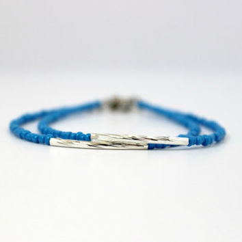 Simple Electric Blue and Silver Bar Tube Bracelet - Handmade Trendy Jewelry - Minimalist Jewelry - Stackable Skinny Bracelet - Ready to Ship