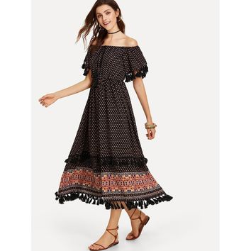 Black Off Shoulder Short Sleeve Fringe Dress