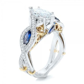 Elegant Cross Zirconia Finger Ring Luxury Princess Women Wedding Engagement Ring