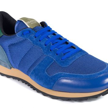 Valentino Mens Blue Mesh Inserts Leather Rockrunner Sneakers