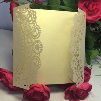 144pcs Laser Cut Lace Flower Wedding Invitations Cards Party Cards Greeting Card Centerpieces Souvenirs Wedding Favors Decor