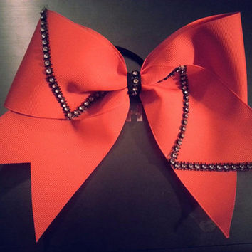Neon orange cheer bow by BowsB4Bros2013 on Etsy