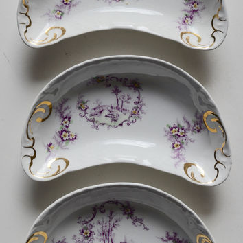 Set of 3 Different Purple Transerware Crescent Shaped Bone Dishes with Pastoral / Rural Scenes & Flowers
