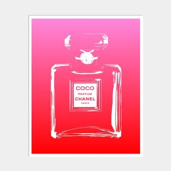 NEON OMBRE CHANEL PERFUME BOTTLE ART PRINT