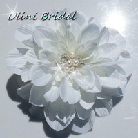 Large Dahlia Flower with Pearls and Rhinestones Bridal Hair clip