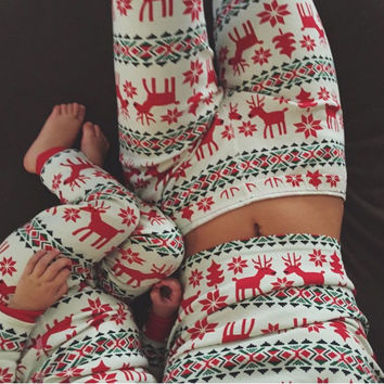 CHRISTMAS FASHION PRINTED COTTON PAJAMAS FOR WOMEN