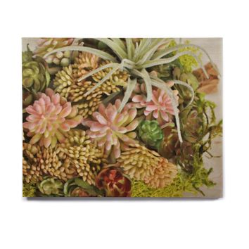 """Jennifer Rizzo Design Company """"Succulents"""" Green Coral Floral Nature Digital Photography Birchwood Wall Art"""