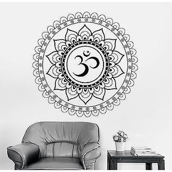 Wall Decal Buddha Aum Sanskrit Symbol Mandala Ornament Vinyl Decal Unique Gift (z2894)