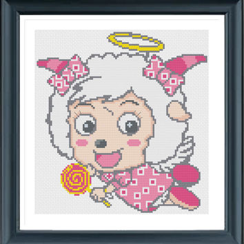 Cartoon Sheep Y61591, PDF pattern, Counted cross stitch, Cartoon stitch, Modern Cross Stitch