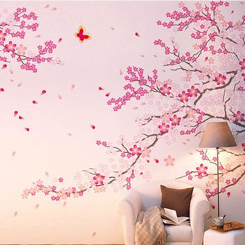 Vinyl Cherry Blossom Wall Decal Tree Wall Art Blossoms Wall Sticker - Romantic Cherry Blossoms by CustomWallDecal
