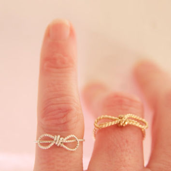 Dainty Bow Ring in Beaded Wire Handmade by BareandMe on Etsy, Dainty Tie The Knot Rings,Great for Bridal Party Gifts,Dainty Thank You Gifts
