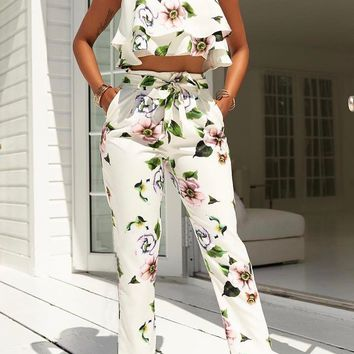 White Floral Sashes Double Ruffle Backless Spaghetti Strap Two Piece Long Jumpsuit