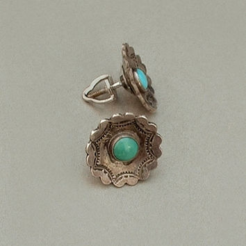 Old Pawn Antique Native American NAVAJO Turquoise EARRINGS Concho Studs STERLING Silver Threaded Post Backs c.1900s