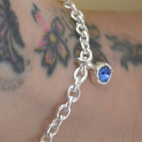 Blue Charm Chain Anklet, Blue Glass Charm Anklet, Silver Chain Anklet