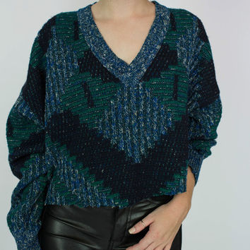 Vintage 80s Cropped V-neck Chunky Knit Sweater | Green And Blue Eighties Vintage Sweater