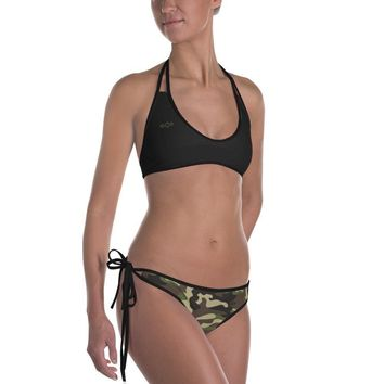 Jenna Bikini - Black and Camo Reversible