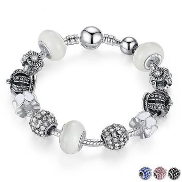 Silver Bracelet with Royal Crown Charm and Crystal Ball White Beads