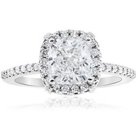 Bliss 14k White Gold 1 3/4 ct TDW Cushion Halo Diamond Clarity Enhanced Engagement Ring | Overstock.com Shopping - The Best Deals on Engagement Rings