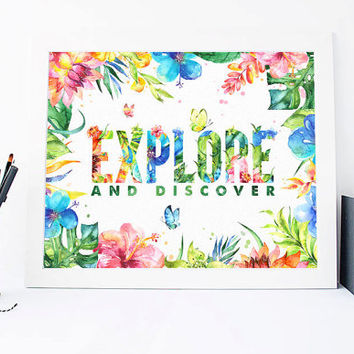Travel And Explore Print - Travel And Explore Quote - Inspirational Quote - Motivational Quote - Inspirational Print - Motivational Poster