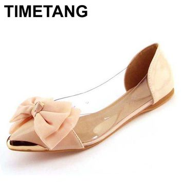 TIMETANG - 2017 Soft and Sweet Embellished Pointed Toe Flat with Dainty Bow*