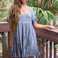 Real Love Charcoal Acid Wash Baby Doll Dress