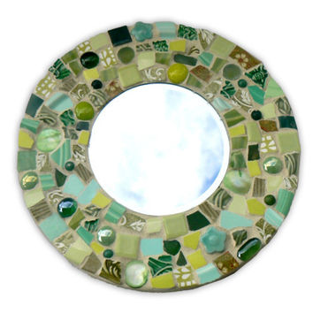 Green Broken China Round Mosaic Mirror