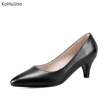 KoHu8Joo 2018 Women Genuine Leather Dress Shoes Office Lady Sexy Spike Heels Pointed Toe Pumps High Heels Boat Shoes Big Size