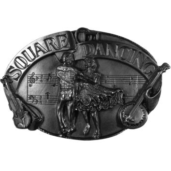 Sports Accessories - Square Dancing Antiqued Belt Buckle