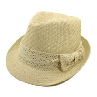 Women`s Natural Ribbon Band Fedora Straw Hat
