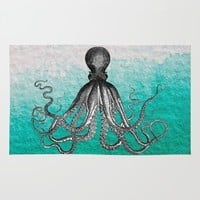 Antique Nautical Steampunk Octopus Vintage Kraken sea monster ombre turquoise blue pastel watercolor Rug by IGalaxy