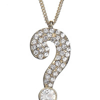 Question Mark Pendant | Clear | Accessorize