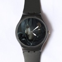 Custom TFinal Fantasy Watches Classic Black Plastic Watch WT-0836