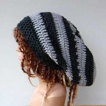 4034c8ad05d Dark and light grey slouchy large Tam Dreadlock Hippie Beanie Dr