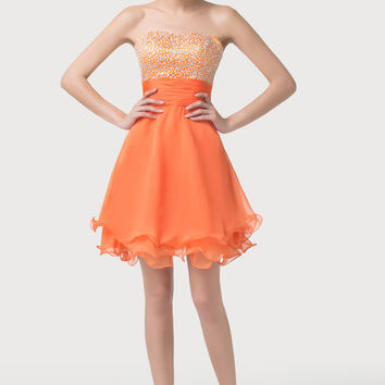 Orange Sequined Empire Waist Homecoming Dress