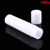 100PCS Cosmetic DIY Empty Chapstick Lip Gloss Lipstick Balm Tube with Caps Container Lip