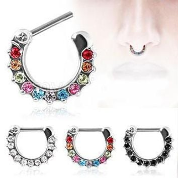 316L Surgical Steel CZ Gemmed Septum Clicker