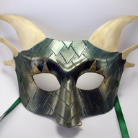 Leather Dragon Half Face Mask in Verdant Green and Ivory Hand Made