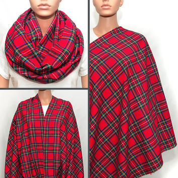 Holiday Inspired Christmas Plaid Nursing Cover / Infinity Scarf
