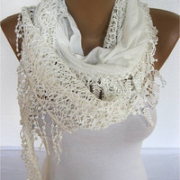White  Scarf- Fashion Scarf- Shawls- Scarves-Gift Scarf- Christmas Gift
