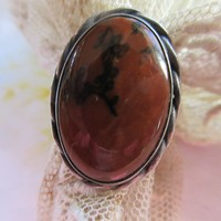 Vintage Native American Petrified Wood Ring Sterling Silver