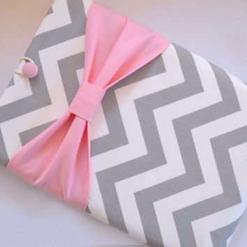 "Macbook Air 11 Sleeve MAC Macbook 11"" inch Laptop Computer Case Cover Grey & White Chevron with Light Pink Bow"