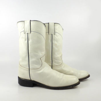 White Cowboy Boots Vintage 1980s Justin Roper Distressed Women's size 6 1/2 B