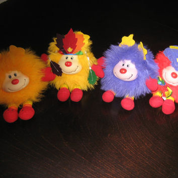 "4 Vintage RAINBOW BRITE SPARK Sprites -  7"" Plush Stuffies - Yellow Hatful Indian Spark, Red Hatful Romeo, Purple and Yellow (squeaks) Toys"