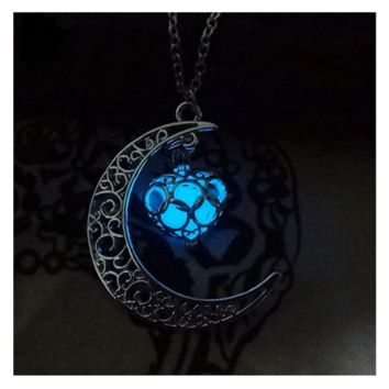 Glow in Dark Moon Glowing Turquoise Heart Pendant Necklace For Women