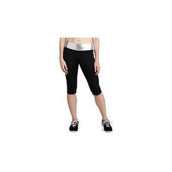 No Boundaries Juniors Athletic Metallic Capri Pants, Black/Silver, X-Large