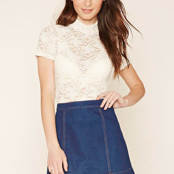 Mock Neck Floral Lace Top