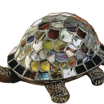 "0-004278>4""h Blue Turtle Accent Lamp Antique Bronze"