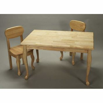 Gift Mark 3001N Rectangle Queen Anne Table and Two Chair Set - Natural