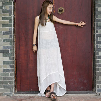 2016 Summer New Women Maxi Dress Sleeveless Strap Dress Solid Color  Loose Plus Size Casual Cotton Linen Floor Length Dress